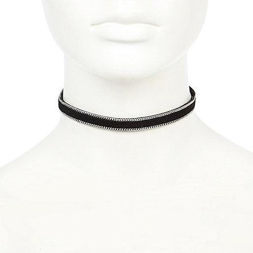 Collier chaîne ras du cou en suédine noire