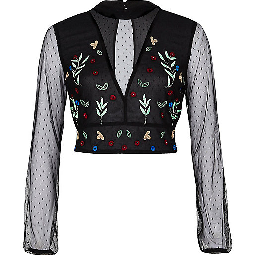 Black mesh floral embroidered crop top