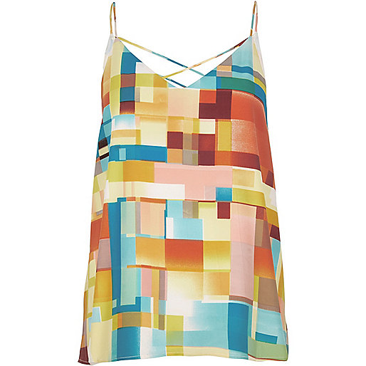 Yellow print strappy cami