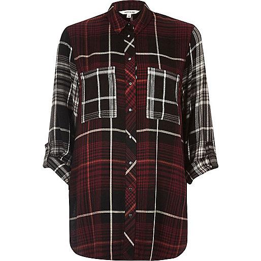 Rot kariertes Oversized-Hemd