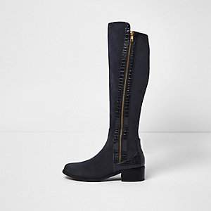 Navy croc-effect panel knee high boots