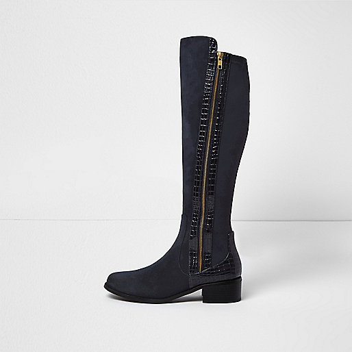 Navy croc-effect panel knee-high boots