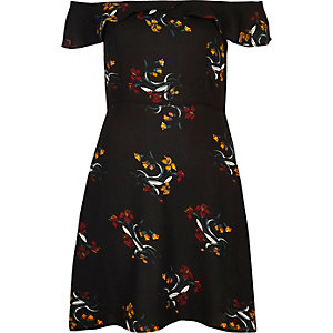 Black floral print bardot skater dress