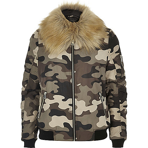 Khaki camo bomber jacket with faux fur trim