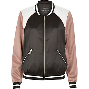 Black satin color block bomber jacket