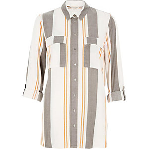 Grey stripe relaxed shirt
