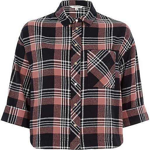 Pink checked cropped shirt
