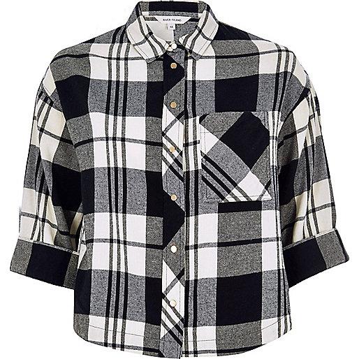 Chemise courte noire à carreaux