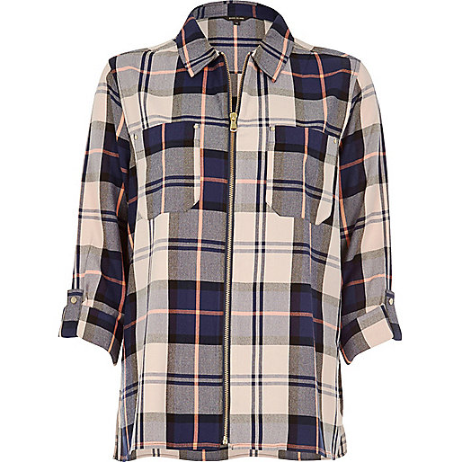 Navy checked zip shirt