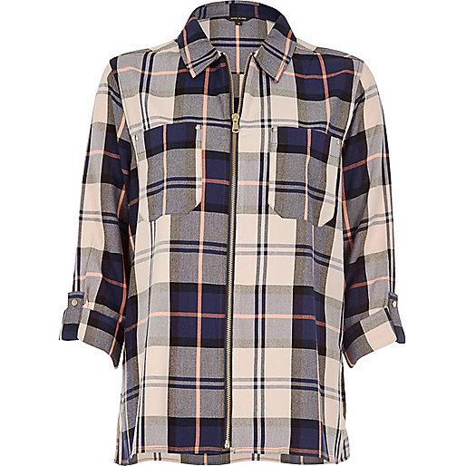 Chemise à carreaux bleu marine zippée