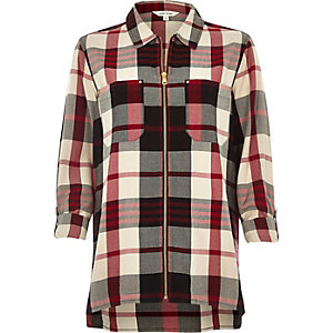 Red check zip shirt