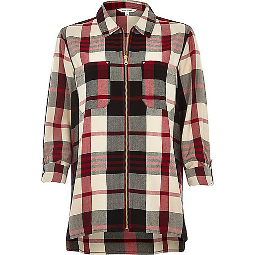 Red checked zip shirt