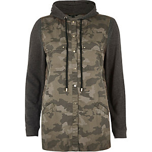 Green camo hooded shacket