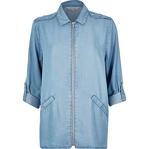 Light blue denim zip shirt
