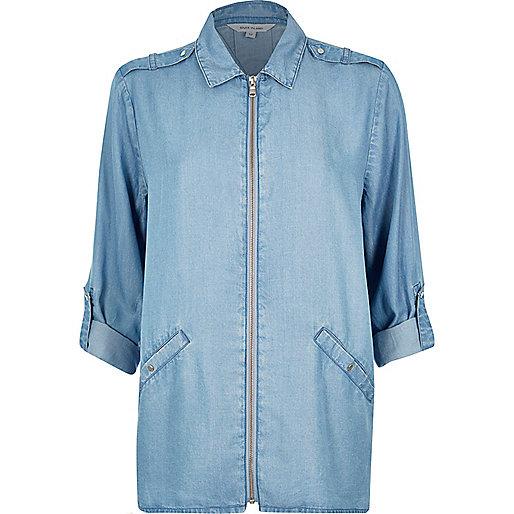 Chemise en jean bleu clair zippée