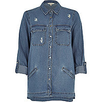 Mid blue wash denim shacket