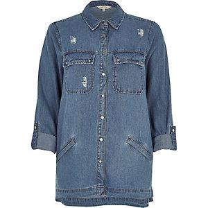 Jeans-Shacket in mittelblauer Waschung