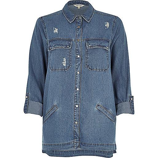 Veste-chemise en jean à délavage bleu moyen