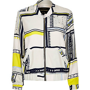 White print bomber jacket