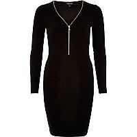 Black zip front mini dress