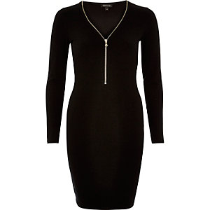Black zip front mini dress