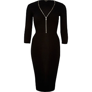 Black zip front midi dress