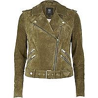 Khaki suede biker jacket