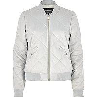 Light grey quilted faux suede bomber jacket