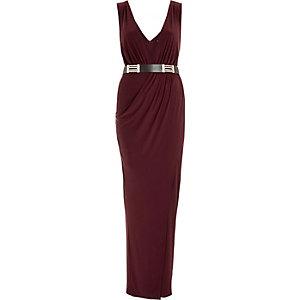 Dark purple belted plunge maxi dress