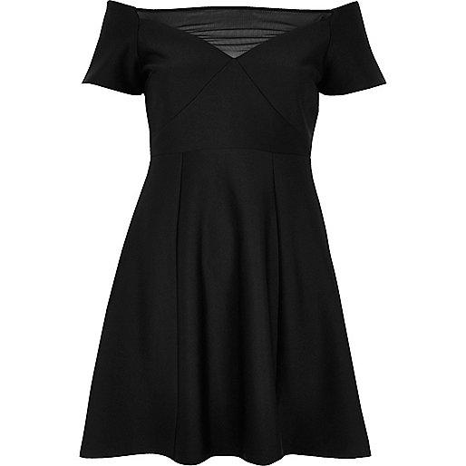 Black mesh bardot skater dress