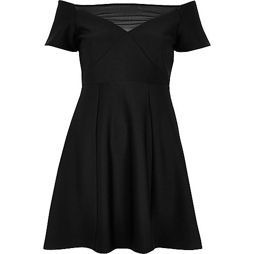 Black mesh bardot skater dress