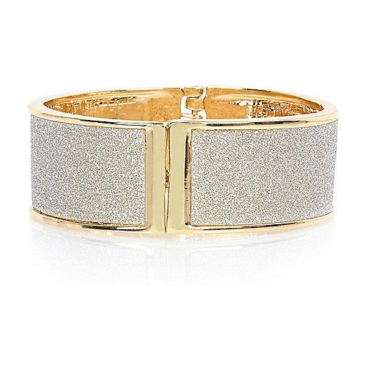 Gold tone glitter clamp cuff