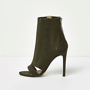 Khaki knit peep toe sock boots