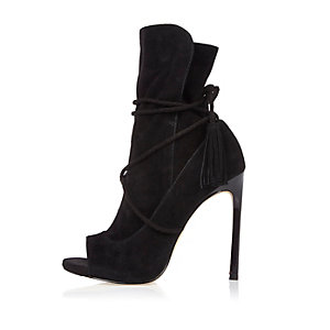 Schwarze Peeptoe-Stiefel aus Wildleder mit Wickeldesign