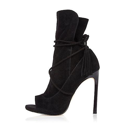 Black suede wrap around peep toe boots