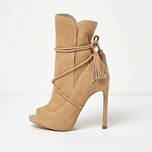 Nude suede wrap around peep toe boots