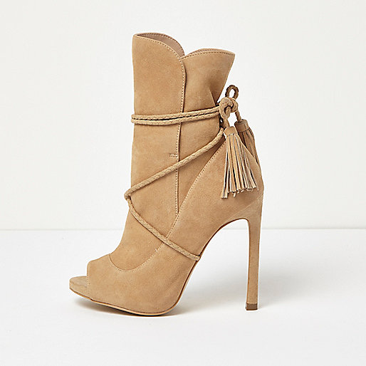 Nude suede wrap around peep toe boots