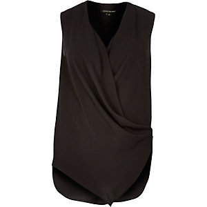 Black wrap front sleeveless blouse
