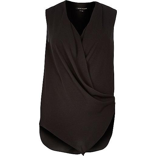 Black wrap front sleeveless blouse