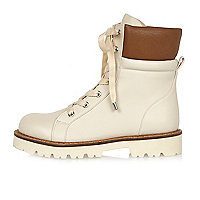 Light pink chunky utility boots