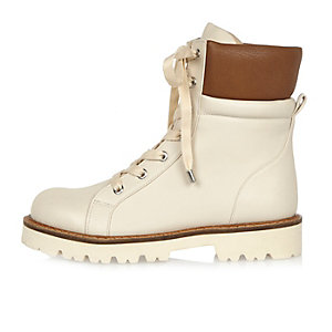 Cream chunky utility boots