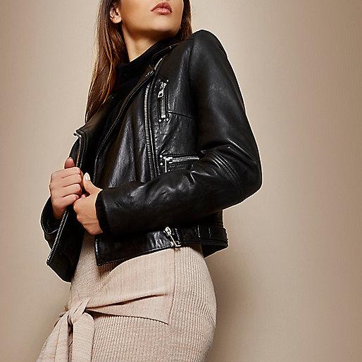 Black leather zipped biker jacket