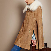 RI Studio tan suede mongolian fur collar cape