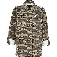 Armee-Jacke Khaki mit Camouflage-Muster