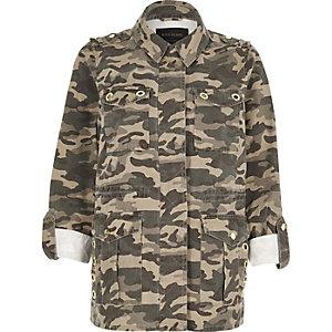Khaki camouflage army jacket