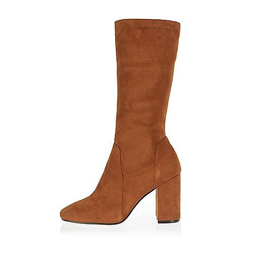 Light brown stretch calf high boots