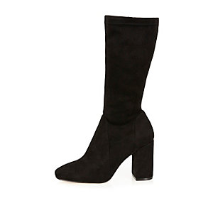 Black stretch calf high boots