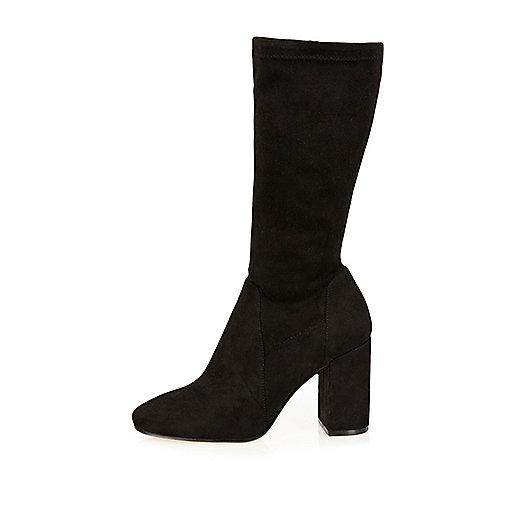Black stretch calf high boots