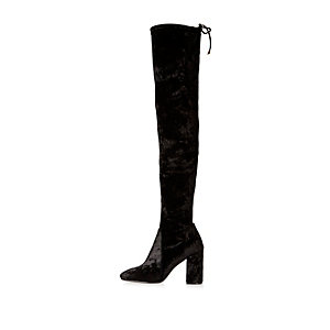 Black velvet over-the-knee heeled boots