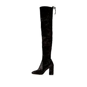 Schwarze Overknee-Stiefel aus Samt mit Absatz